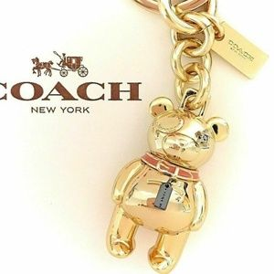 COACH 3D BEAR BAG CHARM KEY CHAIN NWT F 87166 GOLD